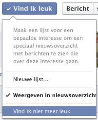 Facebook knop vind ik niet meer leuk via dropdownmenu