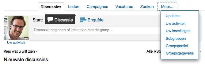 Linkedin Groep - menu meer