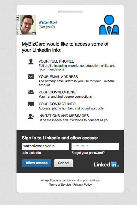 MyBizCard Linkedin authoriseren