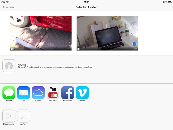 foto app album videos ipad delen youtube