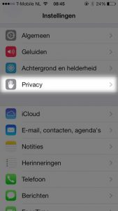 iphone ios7 privacy instellingen